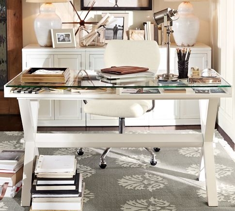 Ava glass display wood desk antique white pottery barn love the chair too office ideas - Antique white home office furniture ...
