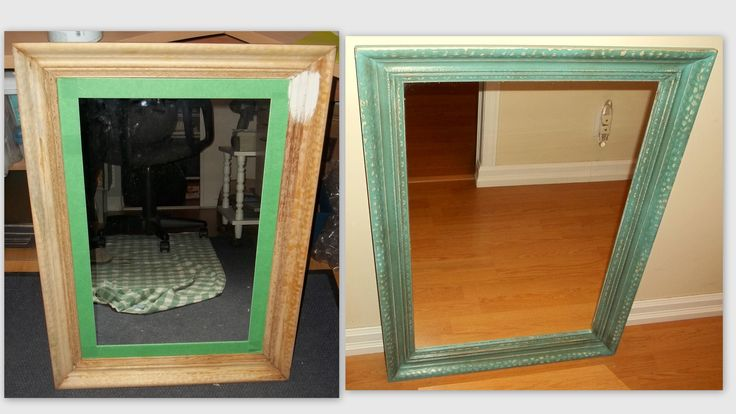 A mirror that I found at Habitat that was in rough shape. Once painted it was gorgeous! Annie Sloan Provence was used.