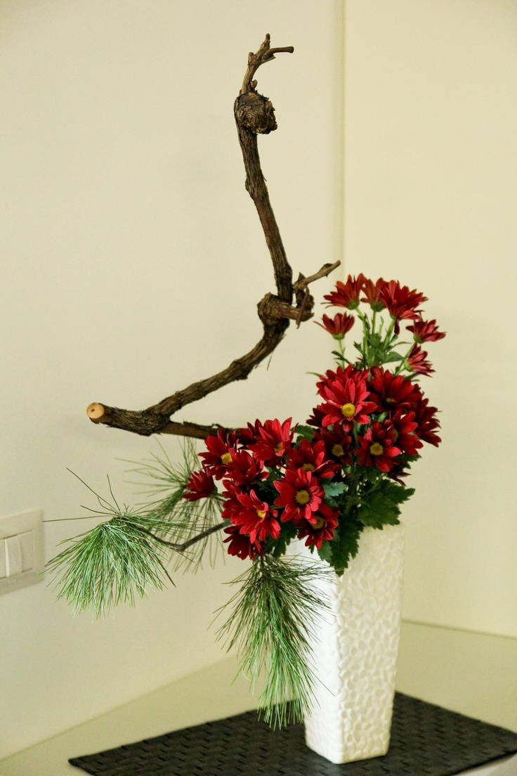 Mums and pine  Ikebana  Pinterest  Ikebana flower