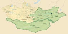Mapa de Mongolia. En verde el gran desierto del Gobi y la fria estepa de mongolia que continua en siberia y China. La cultura de los nomadas de Kazakh se extiende desde rusia y Kazajistan hasta los territorios del oeste de Mongolia siendo Ulgii un asentamiento desde el cual visitar el pueblo Kazakh.