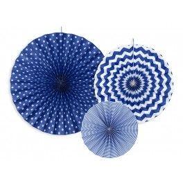 Decoratieve en aantrekkelijke geprijsde set met 3 verschillende waaierdecoraties donker blauw