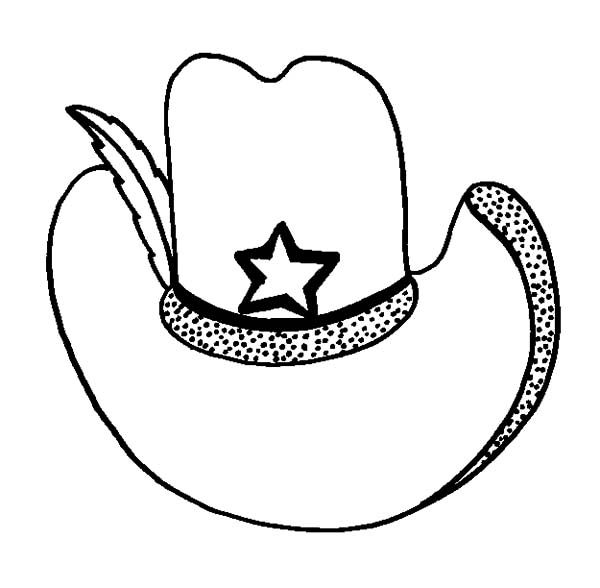 Cowboy Hat Cowboy Hat Decorated With Feather Coloring Pages
