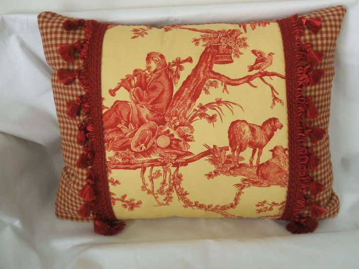 Pierre deux red yellow french country toile pillow fabric for Where can you get fabric