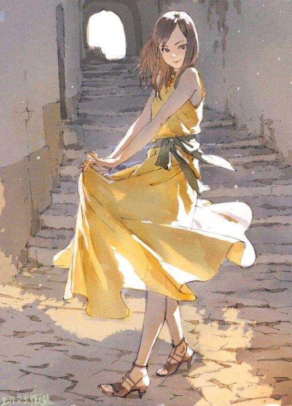 #Fille robe #Dessin 禅之助 #Mode #Manga