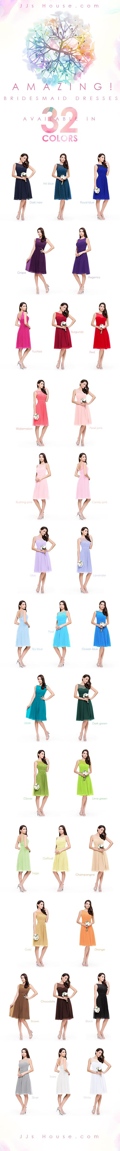 Amazing! 32 colors for you to choose. Find the perfect bridesmaid dresses, with over 1000 styles in 32 colors on JJsHouse. #JJsHouse