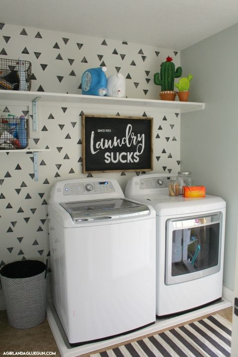 This is a sponsored post written by me on behalf of FrogTape® for IZEA. All opinions are 100% mine. I recently got to go through some houses at our town's Parade of Homes–I saw the cutest laundry room…and even shared it on my Instagram My laundry room was okay–but so dark! There are no windows …