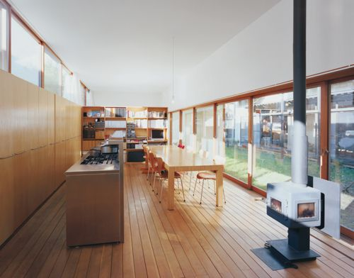 Family Style: Wood Burning Stoves, Dining Room, Open Spaces, Architects Design, Kitchens Ideas, Engawa House, Families Style, Open Kitchens, Dining Tables