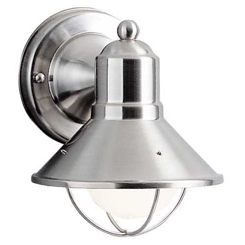 Nautical Outdoor Wall Light in Brushed Nickel - 7-1/2-Inches Tall #SeattleLighting #Meletio #GlobeLighting