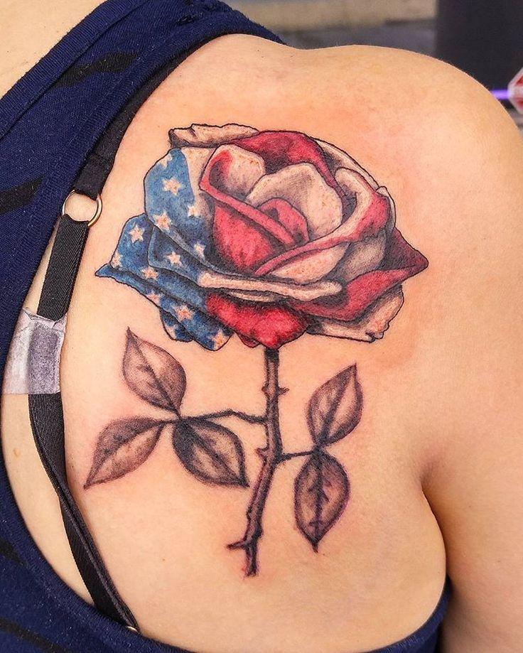 American flag rose done @moonlighttattoo #rosetattoo #americanflag #americanflagtattoo #patriotictat - mikehessingertattoo