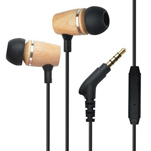 Francois et Mimi Elite Genuine 3.5mm Wood In-ear Noise-isolating Earbuds Headphones with Mic, Retail Packaging