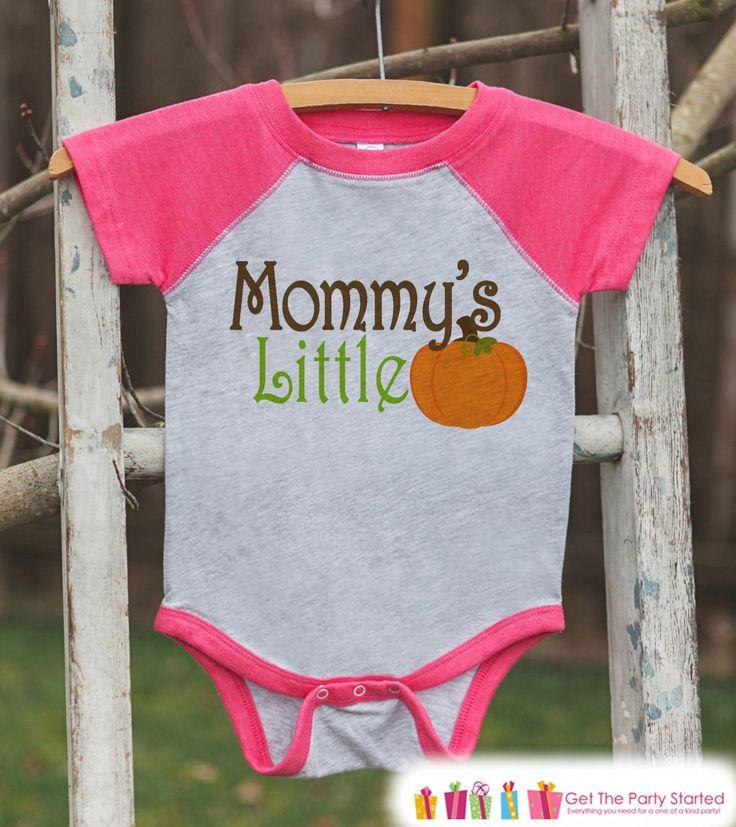 Mommy's Little Pumpkin - Kids Pumpkin Outfit - Girls Pumpkin Shirt - Pink Raglan Tshirt or Onepiece - Youth, Kids, Baby, Toddler Halloween