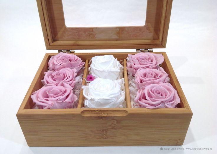 FCF Luxe collection. Стабилизированные розы в шкатулке из бамбука. Прекрасный подарок. Онлайн заказ. Доставка.
