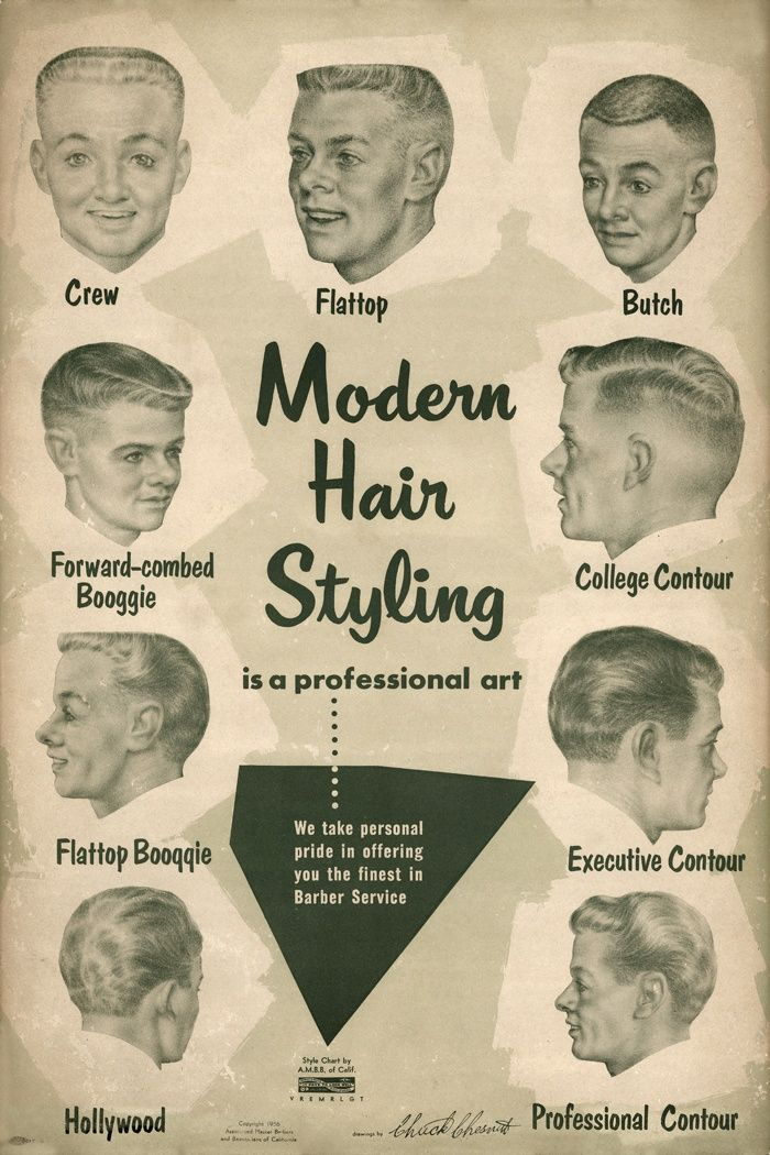 "Men's modern hair styles, 1950's. My dad in his flattop would say he got his ""ears lowered"" when he went for a trim."