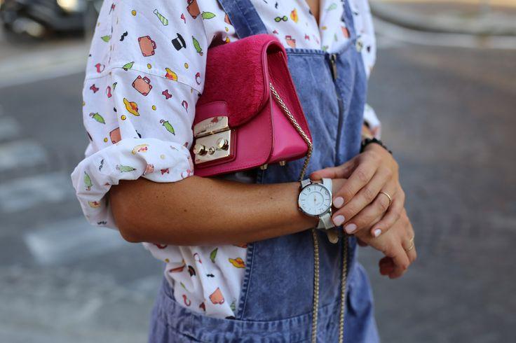 Pattern cotton shirt and Scotch and Soda Overalls. Furla Metropolis Bag http://www.silkdrops.net/printed-shirt-short-denim-overalls/