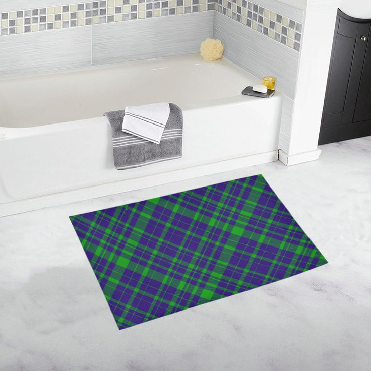 Diagonal Green & Purple Plaid Modern Style Bath Rug 20''x 32''.  #bathmat #bathrug #mat #rug #plaid  #artsadd #purple #family #onlineshopping #style #39 #art #gifts #giftsforher #giftsforhim #homegifts #buybathmats #bathmats #coolbathmat #bathroom #bath #bathroomgifts #homegifts #home #modernhome