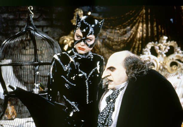 American actors Michelle Pfeiffer and Danny DeVito on the set of Batman Returns directed by Tim Bruton