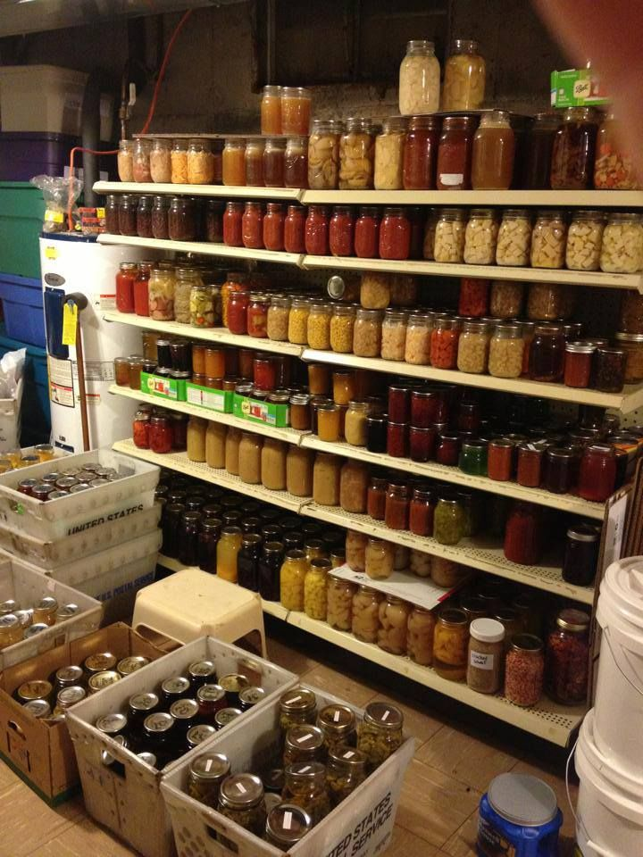 Incredible pantry full of home canned food.