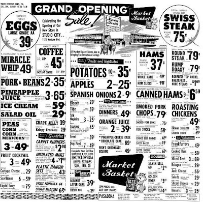 Grocery ads from January 1963. Mom shopped at Market Basket! I didn't know they opened In 63