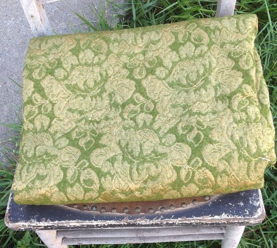 Vintage Brocade Brocatelle Upholstery Fabric Green Gold Large