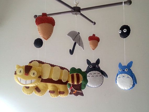 "Baby crib mobile, forest mobile, animal mobile , felt mobile ""My Neighbor Totoro"""
