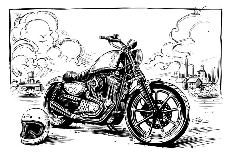 Harley Sportster illustration by Adi Gilbert / 99SECONDS.com for Tucker Rocky…
