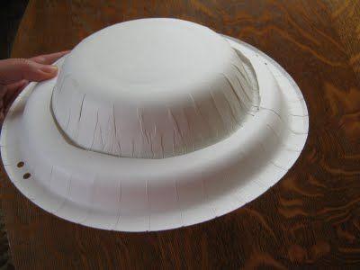 Basis voor een hoed van een plat en diep kartonnen bordje