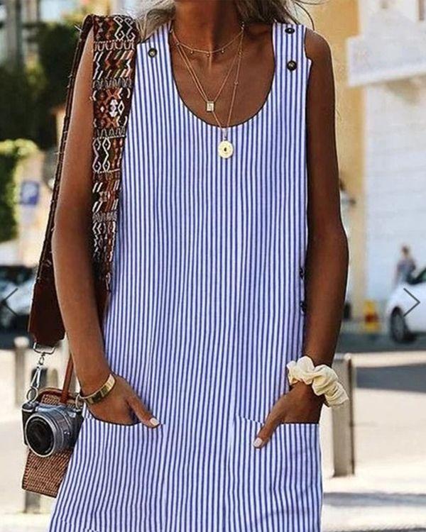 Crew Neck Women Dresses Shift Daily Boho Pockets Striped Dresses – ZUCHIC