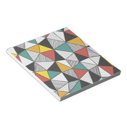 Geometric Triangles Colored Line Notepad 40 pages - #customize create your own personalize diy
