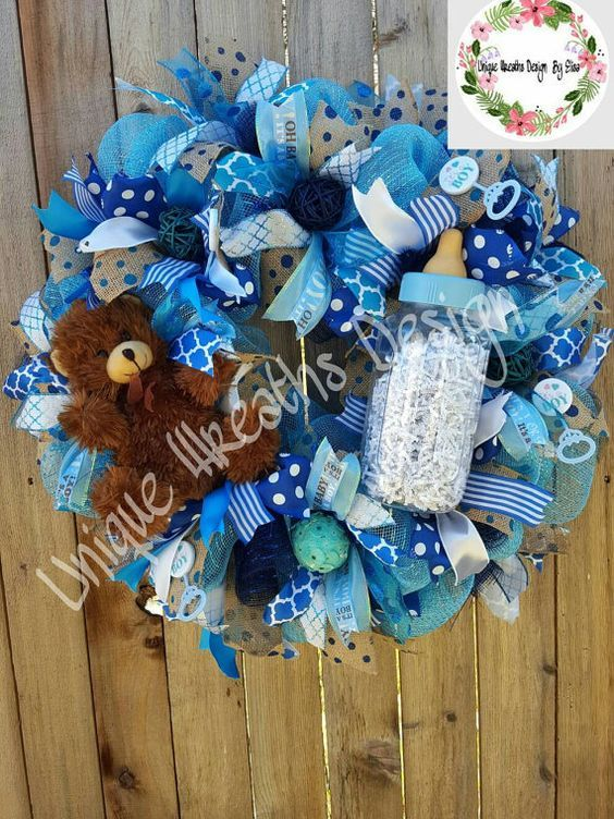 Deco Mesh Baby Boy Wreath, Baby Shower Decorations, Baby Boy Door Hanger, Hospital Door Wreath, Nursey Room Door, Baby Boy Wreath