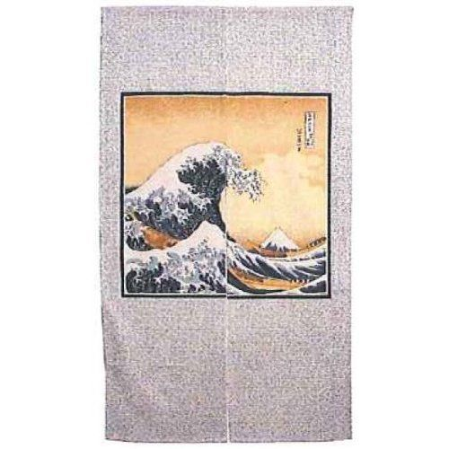 Hokusai Japanese Doorway Curtain (Noren) by Pacific World Trading. $59.95. Made in Japan. Size: 33.5 x 59 inches. Materials: Cotton 38% Rayon 35% Polyester 27%. This Japanese Doorway Curtain is known as Noren in Japan. They are a short cotton or linen curtain hung in shops, homes and restaurants. Traditional noren are split down the center - allowing a person to pass through from one room to another and are traditionally used as door/doorway curtains. They can also ...