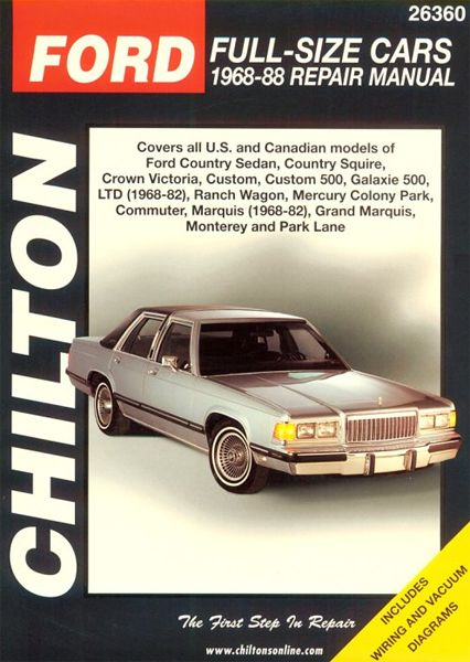 Ford & Mercury Full-size Cars Chilton Manual 1968-1988: Total Car Care is the most complete step-by-step… #CarParts #AutoParts #TruckParts