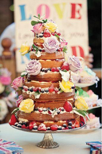 Naked cake #food #wedding #cake #naked