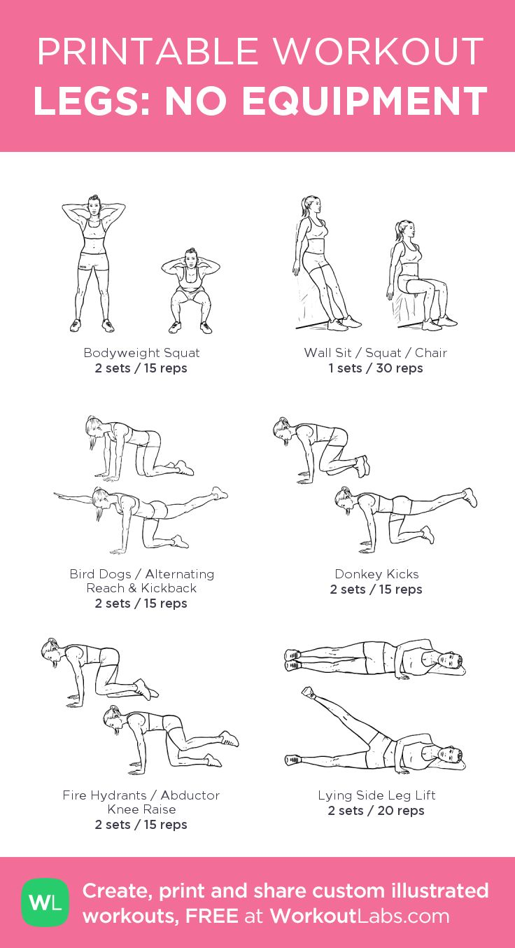 LEGS: NO EQUIPMENT: my visual workout created at WorkoutLabs.com • Click through to customize and download as a FREE PDF! #customworkout