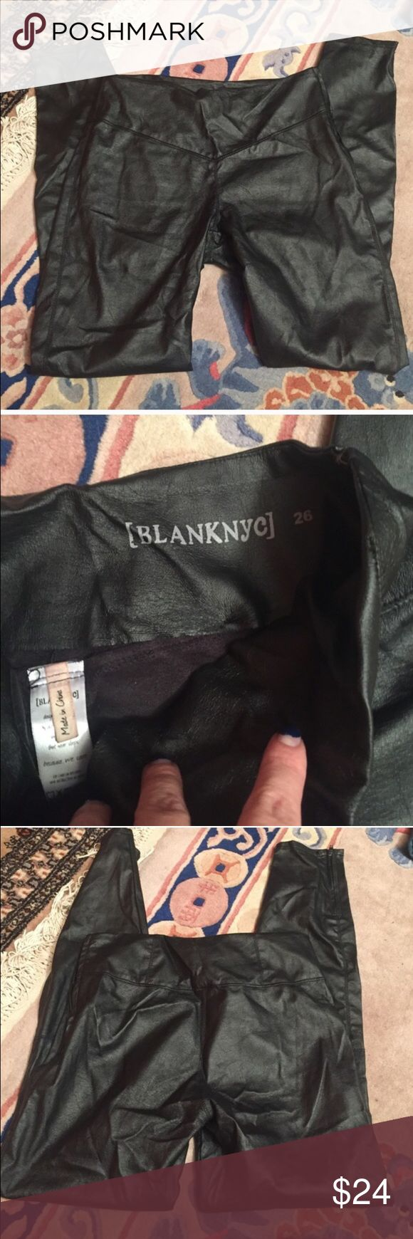 BLANK NYC leather legging pants Bought from another posher...I'm not as skinny as I like to think! These pants are so cute though. They are size 26 and suited for a size 2. They are not wrinkly when put on Blank Denim Pants Leggings