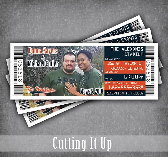Football Wedding Invitation Tickets, Football Wedding Invites, Sports Wedding, Football Ticket, Chicago Bears, Denver Broncos, DIY Template By Cutting It Up