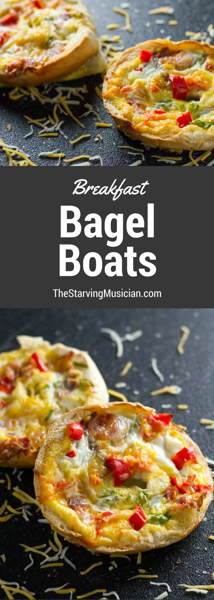"Breakfast Bagel Boats -- an easy, ""adult"" and family friendly version of Bagel Bites!"