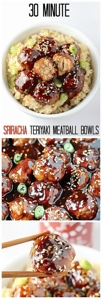 Healthy 30 Minute Sriracha Teriyaki Meatball Bowls - quick, easy, and a million times tastier than take-out!