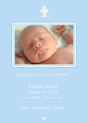 Blue Photo Birth Announcements