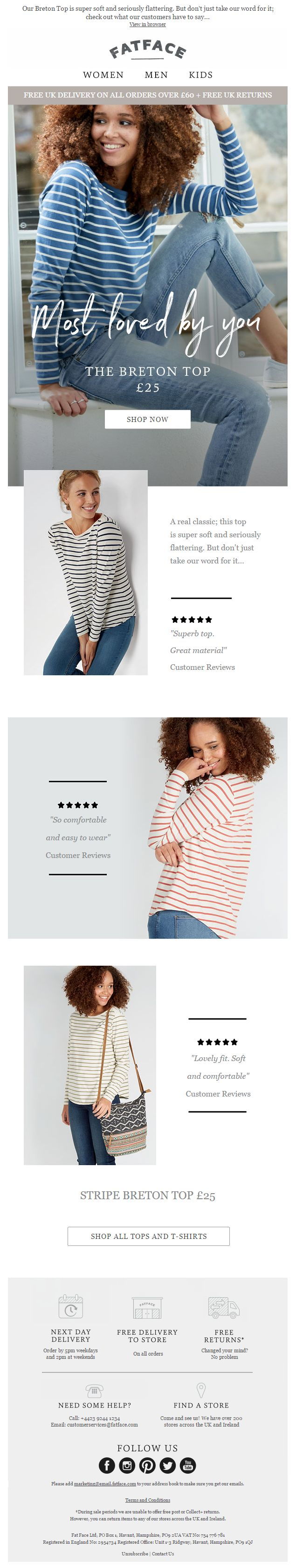 Social Proof email from Fatface with customer reviews #EmailMarketing #Email #Marketing #SocialProof #Social #Proof #Customer #Reviews #Fashion