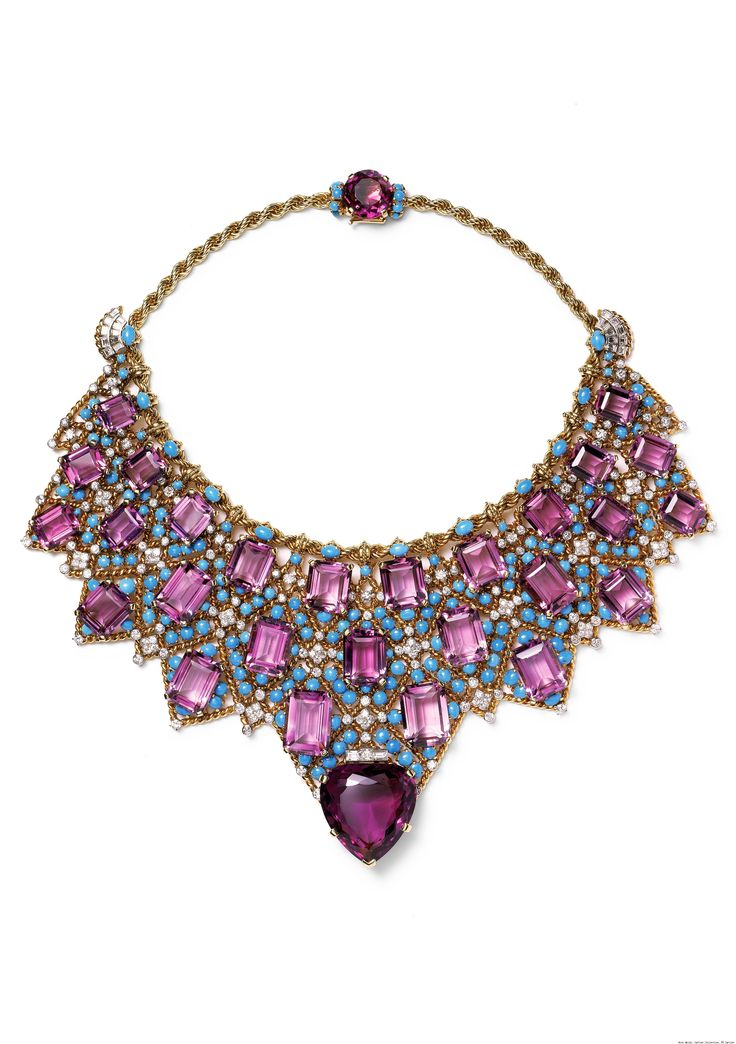 Cartier, Paris, Bib Necklace, 1947, twisted 18-carat and 20-carat gold, platinum, brilliant- and baguette-cut diamonds, one heart-shaped faceted amethyst, twenty-seven emerald-cut amethysts, one oval faceted amethyst, and turquoise cabochons.