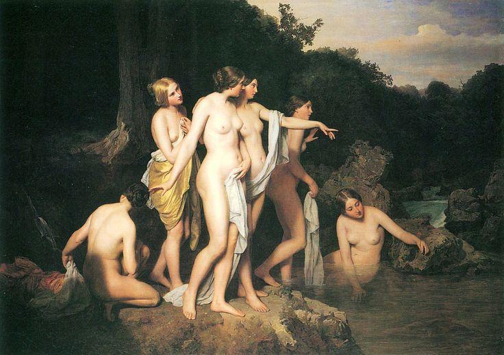 Ferdinand Georg Waldmüller,  'Women Bathing at the Brook', 1848 (Athenaeum). Note this photographic response, https://500px.com/photo/91721719/women-bathing-at-the-brook-by-pawe%C5%82-rychert.
