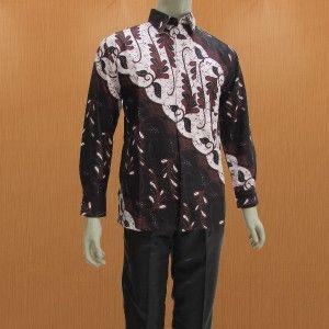 Jual model baju batik pria moderen lengan panjang berbahan dasar kain katun dengan motip batik parang solo terbaru harga murah