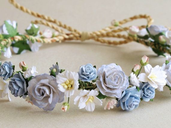 Flores corona venda de cabeza de la flor de papel por SQUISHnCHIPS
