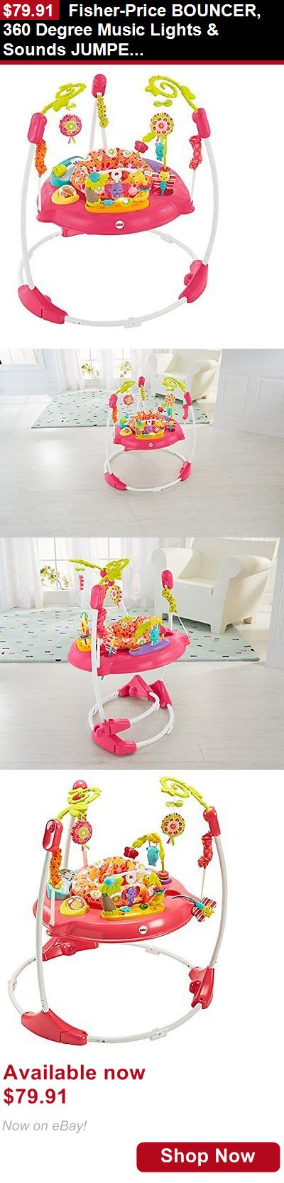 Baby bouncers and vibrating chairs: Fisher-Price Bouncer, 360 Degree Music Lights And Sounds Jumperoo, Pink Petals BUY IT NOW ONLY: $79.91