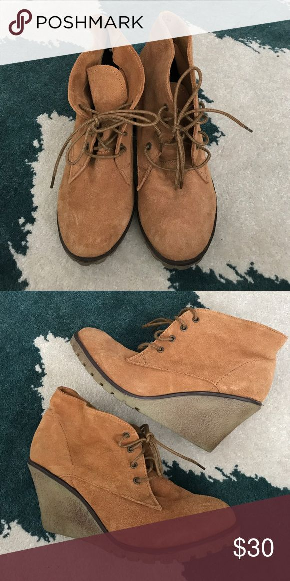 Skechers wedge bootie Skechers wedge bootie. Worn once, like new. Suede. Size 7.5 Skechers Shoes Ankle Boots & Booties