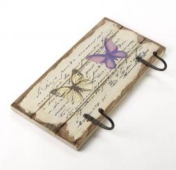 Estilo Vintage Creme de madeira Gancho Duplo decorado com borboletas para £…