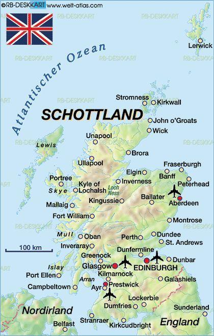 Sehenswürdigkeiten Großbritannien Karte.Karte Von Schottland Großbritannien Britain Ireland Scotland