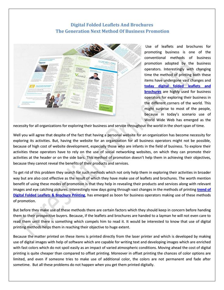 Digital Folded Leaflets And Brochures: The Generation Next Method Of Business Promotion !