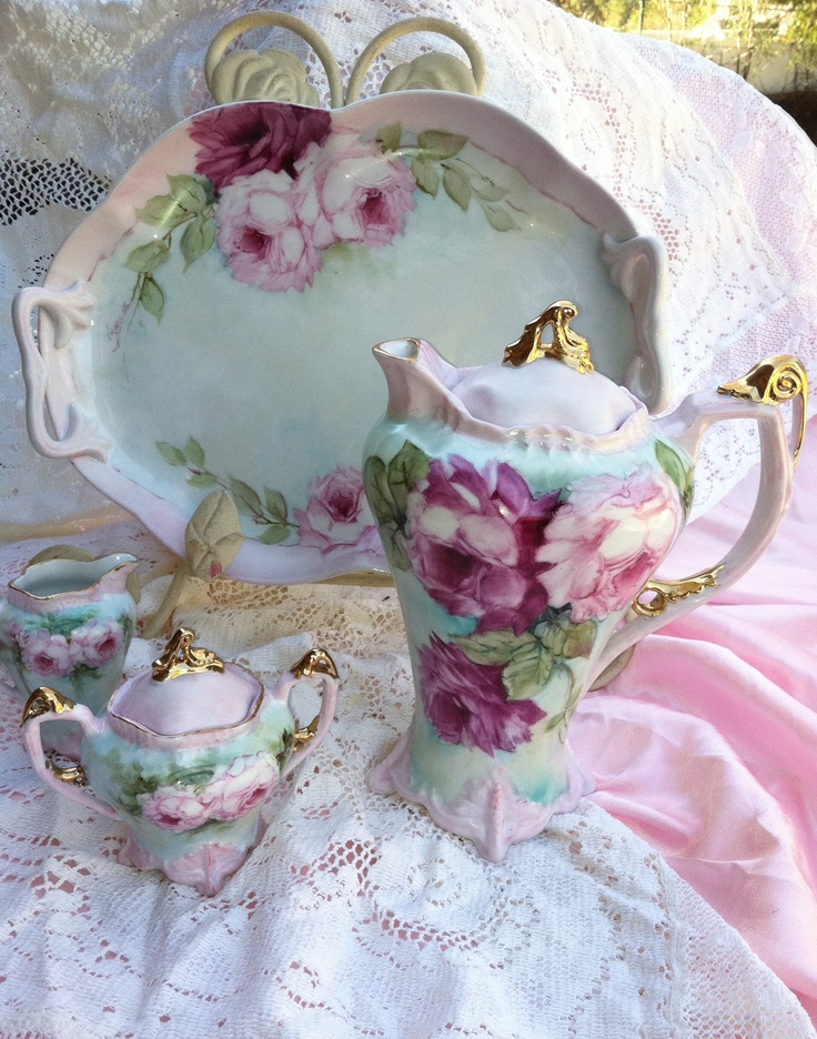Victorian style Tea set just hand painted by Farnaz Farzad .www.farnazstudios.com