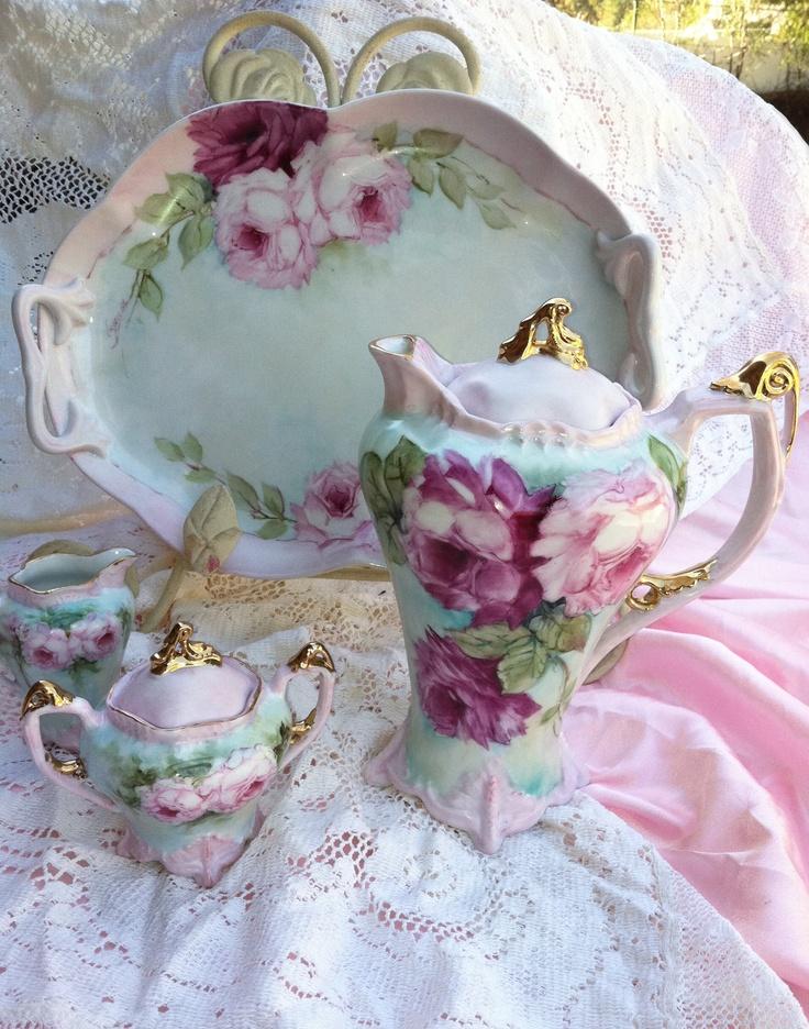 Victorian style Tea set just hand painted by Farnaz Farzad .www.farnazstudios.com: Teas Time, Teapots, Teas Cups, High Teas, Teas Sets, Hot Chocolates, Pink Rose, Vintage Rose, Teas Parties